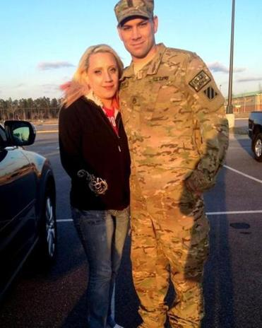 Sergeant Greg Pizzute with his wife, Brandie. Pizzute is on his third combat tour, this one in Afghanistan.