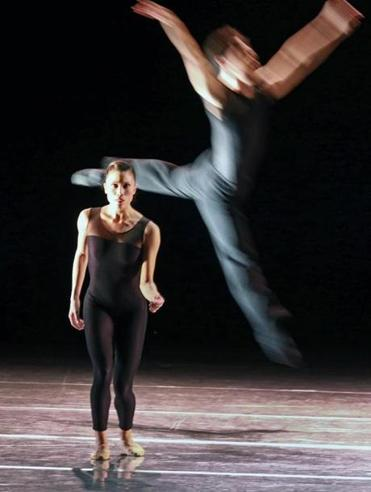 "Lia Cirio and Paulo Arrais during a dress rehearsal of ""Wings of Wax."" The Boston Ballet's Jiri Kylian program presented three of the choreographer's works spanning 28 years."