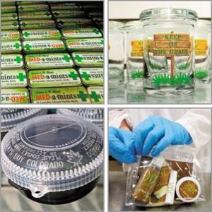 The medical marijuana business has spawned a variety of companies making products like drug-laced mints and containers. The bag at bottom right holds medicated drinks, balms, and salves.