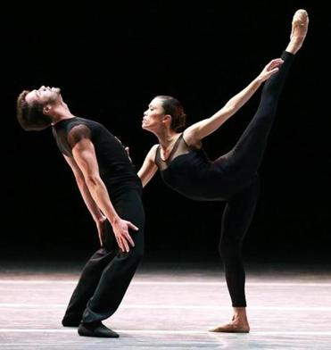 "Paulo Arrais and Lia Cirio during a dress rehearsal of ""Wings of Wax"" at the Boston Ballet."