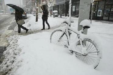 Cambridge, MA., 03/08/13, Biking to work was not an option in Cental Square. Section: Metro Suzanne Kreiter/Globe staff