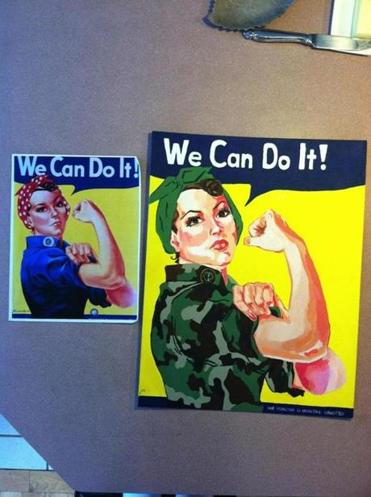 Anne Callahan, a junior at Fontbonne Academy, put Rosie the Riveter in Army combat dress.