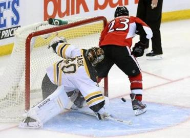 Tuukka Rask stuffed the Senators' Kaspars Daugavins on his unconventional shootout attempt.