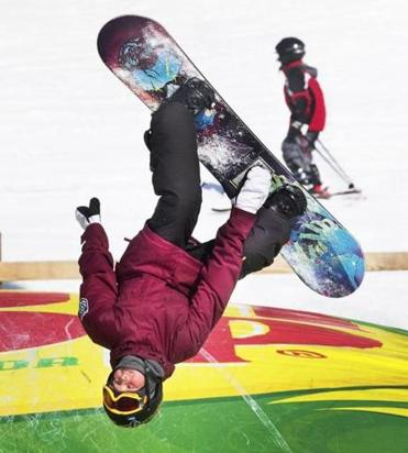 David Oski, 13, of Westminster, snowboarding on the air bag at Wachusett Mountain Ski Resort, Princeton, Mass.