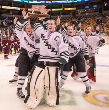 Duxbury (21-1-2), 65-4-3 the last three seasons, three-peated as state champs with their victory over Falmouth Sunday at the TD Garden.