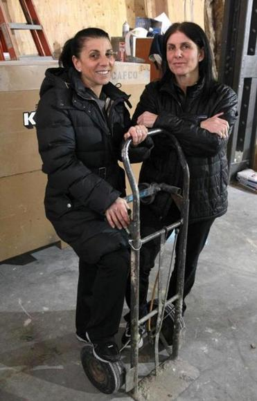 Carla Pallotta (left) and her sister Christine are opening Nebo at an Atlantic Avenue location in May. Construction is underway at the new location.