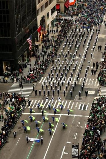 The Danvers High School band marches along Fifth Avenue in New York City's St. Patrick's Day parade on Saturday.