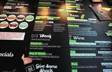 The menu includes burgers, custards, and milkshakes, as well as beer and wine created specifically for Shake Shack.