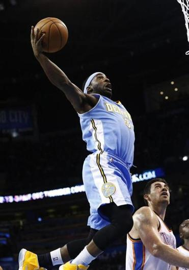 Ty Lawson scored 25 points for the Nuggets against the Thunder.
