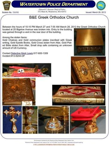 Police have posted photos of the items stolen from the church.
