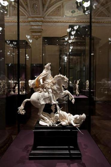 Mathias Steinl's ivory sculpture of Emperor Leopold I on horseback was likely to have been commissioned for his 15-year-old son Joseph's election and coronation as Holy Roman Emperor in 1690.