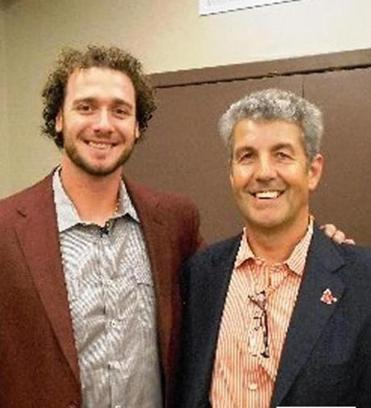 Paul Shorthose, the new president of the BoSox Club, with Red Sox catcher Jarrod Saltalamacchia at the BoSox Club Man of the Year awards luncheon at the Sheraton Needham Hotel in 2012.