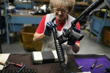 The Colt Defense factory in Hartford, Conn., makes the m16 and M4 rifles, which are the main rifles of choice of the US military. Photo by Todd Heisler/The New York Times -- 0414guns