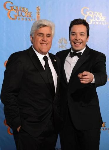Jay Leno (left) and Jimmy Fallon at the Golden Globes in January.