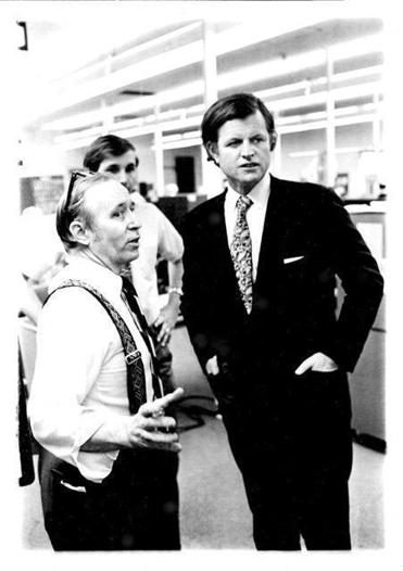 Robert Moore met Senator Edward M. Kennedy in the newsroom of the Middlesex News in the 1970s.