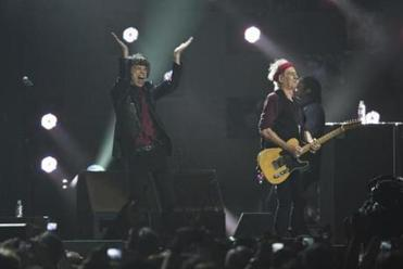 "The Rolling Stones — (from left) Ronnie Wood, Mick Jagger, Charlie Watts, and Keith Richards — performing during their ""50 and Counting"" tour at Barclays Center in Brooklyn."