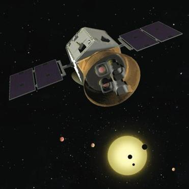 Artist's rendering of TESS, a new MIT-led telescope that will search for Earth-like worlds orbiting other stars.