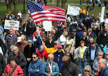 Hundreds attended the Tea Party rally, and issue-driven factions of the group set up tents.