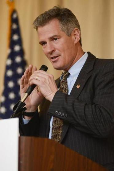 Scott Brown spoke at a dinner commemorating the anniversary of Martin Luther King Jr.'s death April 4 in Nashua, N.H.