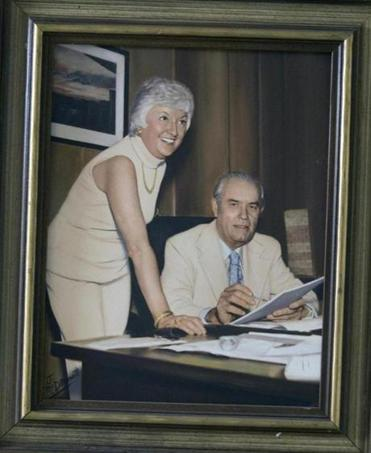 Mary Trank, with ex-Sox GM Dick O'Connell during her heyday as Tom Yawkey's secretary.