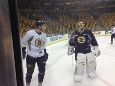 Carl Soderberg, left, skated with the Bruins on Wednesday.