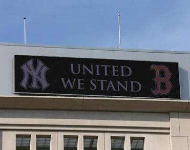 A sign outside Yankee Stadium supported the victims of the bombings at the Boston Marathon.