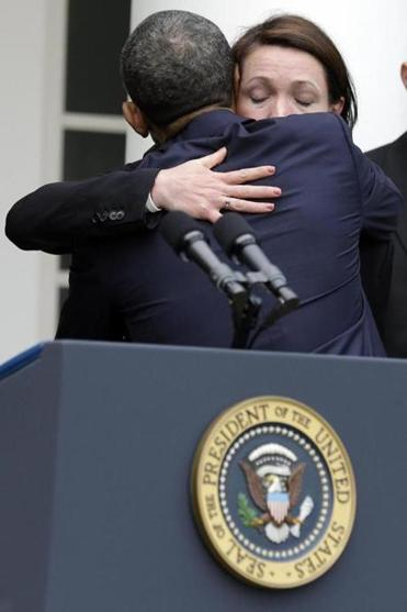 President Obama hugged Nicole Hockley, who lost her son Dylan at Newtown, Conn., after he spoke at a news conference the White House Wednesday about the defeat of a gun-control bill in the Senate.