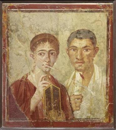 A wall painting of the baker Terentius Neo and his wife from objects buried in Pompeii.