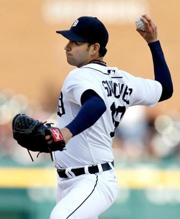 Anibal Sanchez broke the Tigers' team record for strikeouts in a game.