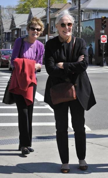 Judge Margot Botsford (left) and Glenn Close arriving in Jamaica Plain for a National Alliance on Mental Illness of Massachusetts fund-raiser.