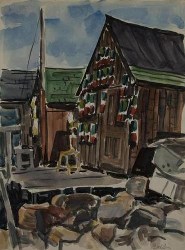 Oliver Balf's Harbor Shack from series of Rockport waterfront paintings circa 1960.
