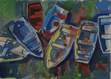 Oliver Balf's Painted Skiffs from a series of Rockport waterfront paintings, circa 1960.