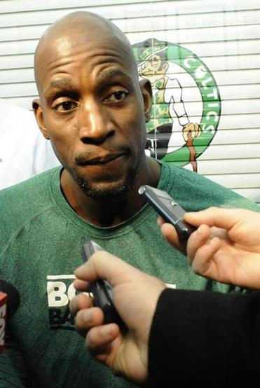 Kevin Garnett took a question at start practice on Tuesday.