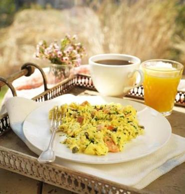 Smoked salmon, red onion, and capers make this soft scramble special.