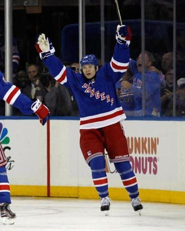 Arron Asham of the New York Rangers celebrates his goal at 2:53 of the third period against the Washington Capitals in Game Three of the Eastern Conference Quarterfinals. The Rangers defeated the Capitals 4-3.