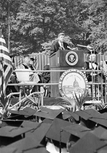 President John F. Kennedy delivered the commencement speech at American University in Washington, D.C., on June 10, 1963.