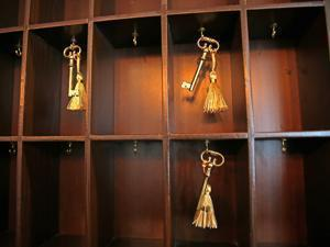 A rack in the Boxer's lobby holds decorative room keys.