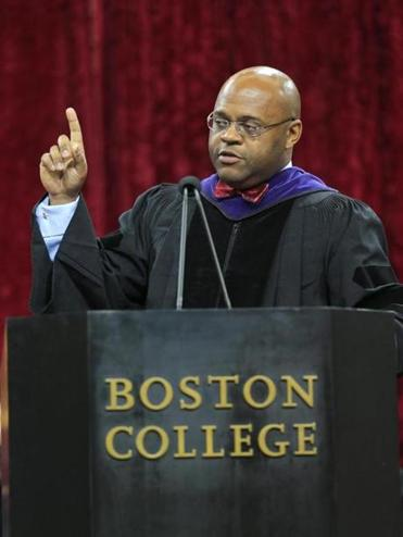 "Marathon bombing victim Brittany Loring accepted her law degree from dean Vincent D. Rougeau at the Boston College Law School commencement, where interim Senator William ""Mo"" Cowan offered his insight on net worth and self-worth."