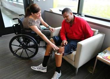 Muji Karim met last week with Celeste Corcoran, who lost both legs in the Boston Marathon bombings.