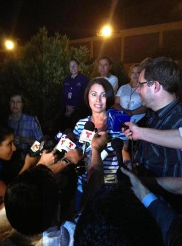 Yanira Maldonado and her husband, Gary, spoke to the media after she was released from a prison on Thursday.