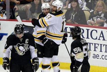 David Krejci's second goal earned a bear hug from Milan Lucic.