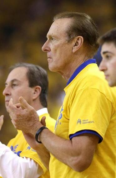 NBA hall of famer Rick Barry during Game 3 of a Western Conference semifinal NBA basketball playoff series between the Golden State Warriors and the San Antonio Spurs.