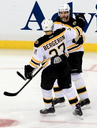 Jaromir Jagr had a helper on Patrice Bergeron's third-period goal in Game 2.