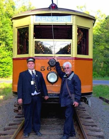 The author and motorman Roger Pierson with a Boston Elevated Railroad trolley.
