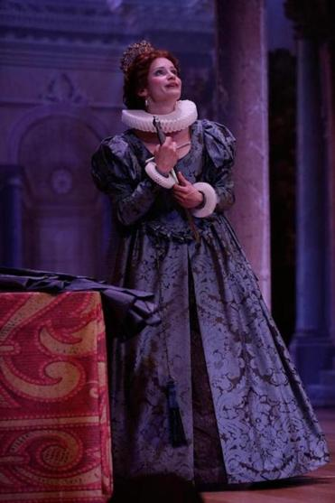 "Ulrike Hofbauer singing the title role Sunday in the Boston Early Music Festival production of Handel's first opera, ""Almira,"" the tale of an orphaned queen, at the Cutler Majestic Theatre."