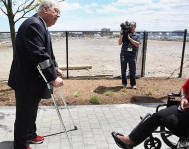 "Mayor Thomas M. Menino, who revealed plans for the playground in May, said it will give ""all of our people, not just some of our people, the access they deserve."""