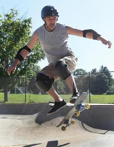 Paul Tuzzio of Enfield, Conn., caught some air while working on his moves at the Newburyport Skatepark.