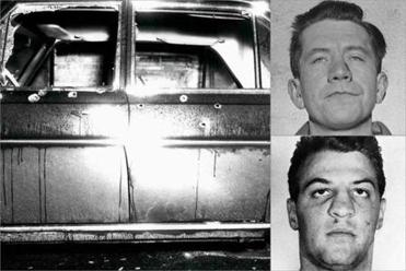 "Shooting victims James ""Spike"" O'Toole (top, right) and Al Notorangeli. At left, the bullet-riddled car in Michael Milano's slaying."