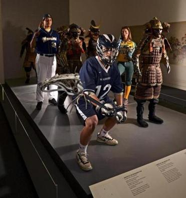 Donny May of Coyle & Cassidy baseball, John Sexton of Lincoln-Sudbury lacrosse, and King Philip softball player Tori Constantin join in with the Samurai Exhibit at the MFA.