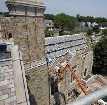 The restoration project was conceived two years ago, when pieces of granite began falling off the building.